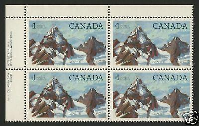 Canada 934 TL Block Plate 1 MNH Glacier National Park, Mountain
