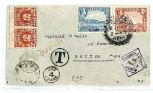 ADEN *Camp* USA Boston UNDERPAID Postage Due CENSOR 1940 WW2 {samwells} CW54