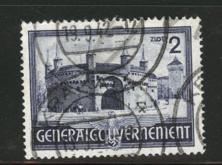 Poland Scott N74 used 1941 Cracow Gate stamp