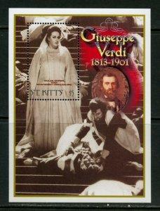 ST. KITTS 100th BIRTH OF GIUSEPPE VERDI SOUVENIR  SHEET  MINT NH
