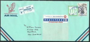 BAHRAIN 2001 Registered airmail cover to New Zealand,DIPLOMATIC AREA cds...11890