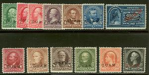GUAM #1-8, 10-12, E1  1¢-$1.00 plus special delivery, all og, hinged, F/VF