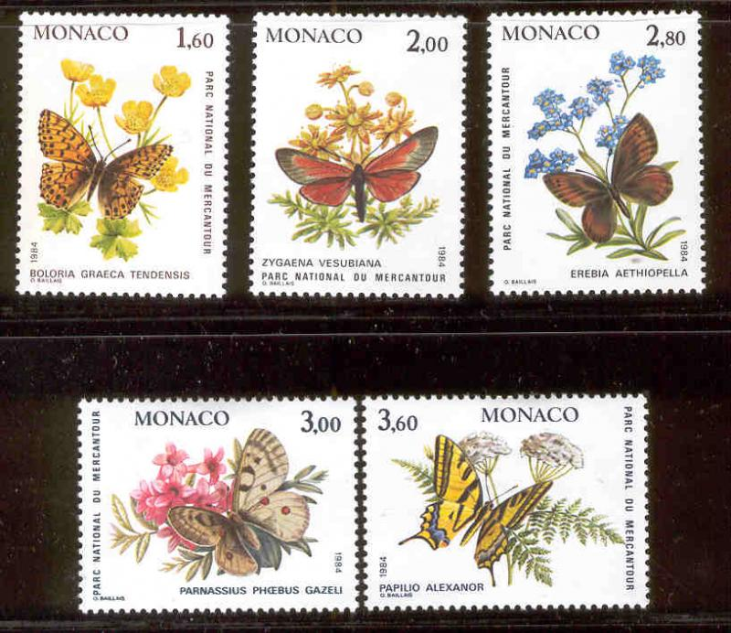 MONACO 1426-1430 MINT HINGED BUTTERFLIES & RARE FLOWERS