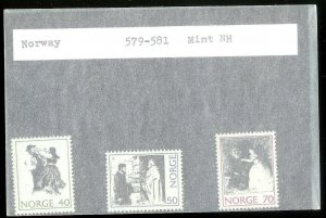 NORWAY Sc#579-581 MINT NEVER HINGED Complete Set