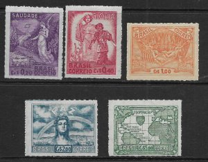 BRAZIL    628-632    MINT HINGED     VICTORY OF THE ALLIED NATIONS IN EUROPE SET