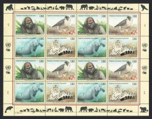 UN Geneva Birds Gorilla Falcon Manatee Leopard Sheetlet of 4 sets SG#G228-31