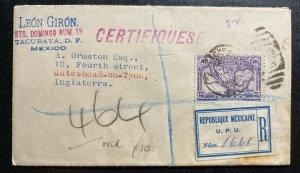 1924 Mexico City Mexico Commercial Sunburst  cover To Gateshead England