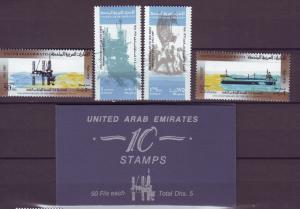 J20794 Jlstamps 1987 uae set mnh + bklt 10 #241 #241-4 ships/oil