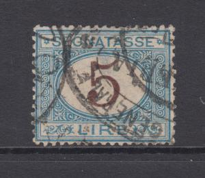 Italy Sc J17 used 1874 5l blue & brown Postage Due