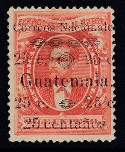 "Guatemala 1886 25c on 1p Vermilion ""centanos"" Variety MNG. Scott 26b"