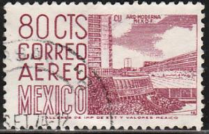 MEXICO C288, 80c 1950 Def 5th Issue Fluorescent uncoated. USED. F-VF. (1437)