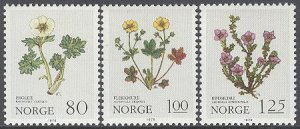Norway 1979 #754-6 MNH. Flowers, Christmas