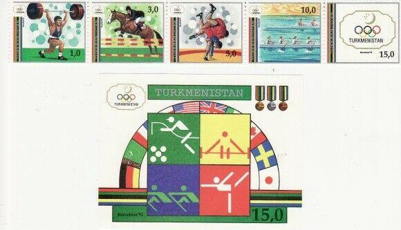 Turkmenistan - Olympic Games - Strip of 5 & S/S - 22-3