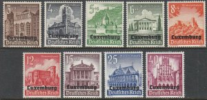 Stamp Germany Luxembourg Mi 33-41 Sc NB1-9 WWII 1941 War Occupation Poland MH