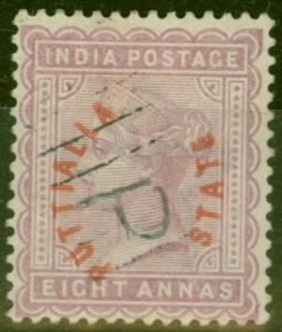 Patiala 1884 8a Dull Mauve SG5 V.F.U Nice Example of this Extremely Rare Stamp