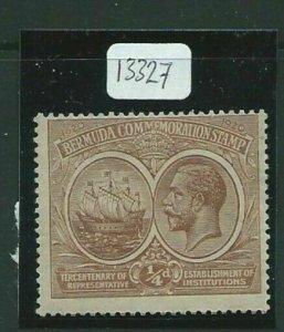 BERMUDA SG59y 1921 TERCENTENARY d BROWN WMK S/WAYS INV & REVERSED MTD MINT
