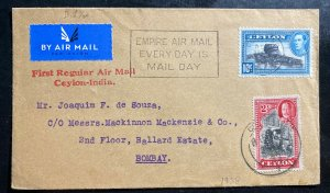 1938 Colombo Ceylon First Regular Flight Airmail cover FFC To Bombay India