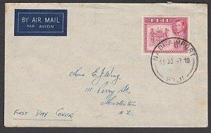 FIJI 1948 GVI 8d on plain FDC to NZ - NADI AIRPORT CDS......................R551