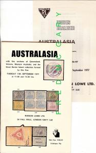 Philatelic Reference: R. Lowe Auction, QLD, VIC, W. Aust., w/ Prices Realized