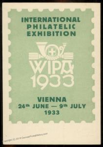 Austria WIPA 1933 Ganzsachen 12Gr Stamp Indicia Private Postal Card 79484