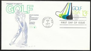 UNITED STATES FDC 13¢ Golf Stamped Envelope 1977 Fleetwood