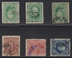 ARGENTINA 1877-87 CANCELS Sc 38-40 & 56 (6x) CHACABUCO, CONCORDIA, SAN PEDRO+