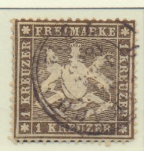 Wurttemberg Stamp Scott #19, Used - Free U.S. Shipping, Free Worldwide Shippi...