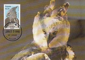 Guyana 1990 Maxicard Sc #2241 $2.25 Harpy eagle WWF