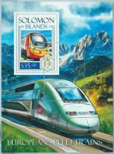1365 - SOLOMON ISLANDS - ERROR, 2013 MISSPERF SHEET: European Speed Train