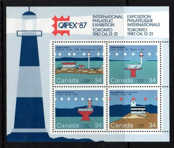 Canada Sc 1066b 1985 Lighthouses CAPEX 87 stamp sheet mint NH