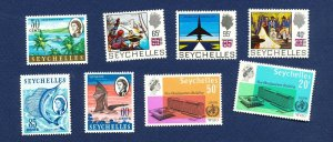 SEYCHELLES - # 202A, 205A, 206B, 228-229, 294-6, VFMNH - Bat, FISH, WHO, 1962-66