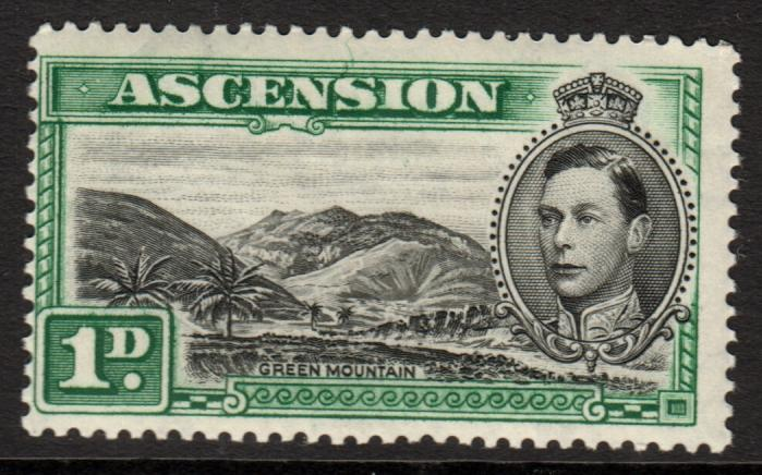 Ascension KGVI 1938 1d Black Green SG39 Mint Never Hinged MNH UMM