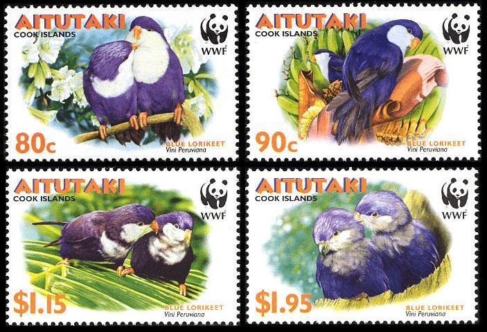 Aitutaki MNH 533-6 Tahitian Blue Lorikeet Birds WWF