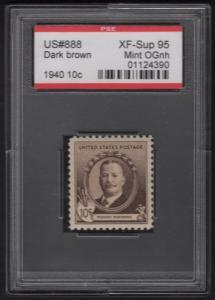 #888 DARK BROWN 1940 10¢ XF-SUPERB 95 OG NH SLAB PSE CERT SLB241
