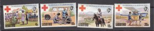 J27492 1976 lesotho set mh #195-8 red cross