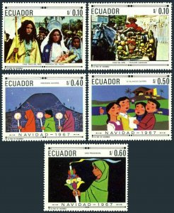 Ecuador 765-765D,MNH.Michel 1392-1396. Christmas 1967.Native Christian Art.