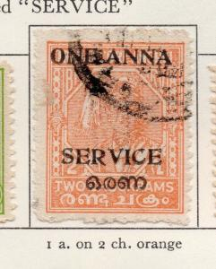 Travancore 1949-51 Early Issue Fine Used 1a. Surcharged Optd 219092