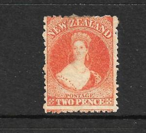NEW ZEALAND 1871  2d  ORANGE FFQ  MNG  P12 1/2 CP A2S3   SG 133 CHALON