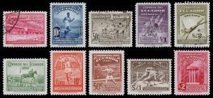 Ecuador Scott 377-381, C65-C69 (1939) Mint/Used LH VF Complete Set, CV $52.55 B