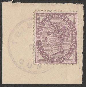 TRISTAN DA CUNHA : 1908 Precursor use of GB QV 1d lilac. RARE!