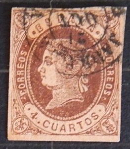 Queen Isabella - Colored Paper, 4, Spain 1862, YT #54 (1625-T)