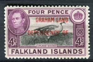 FALKLANDS; 1941 early GRAHAM LAND Optd. on GVI Mint hinged 4d. value