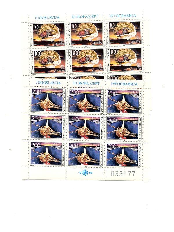 Yugoslavia 1986 Europa sheet VF NH  - Lakeshore Philatelics