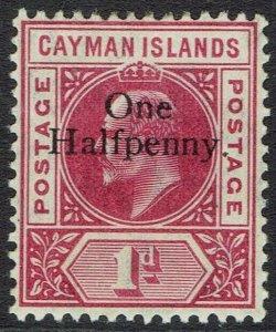 CAYMAN ISLANDS 1907 KEVII ONE HALFPENNY ON 1D