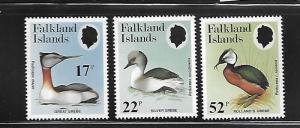 FALKLAND ISLANDS, 408-410, MNH, GREAT GREBE