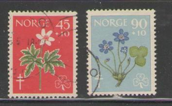 Norway Sc B62-3 1960 Flowers anti TB stamps used