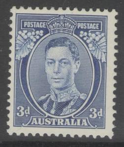 AUSTRALIA SG168b 1937 3d BLUE DIE Ia MTD MINT
