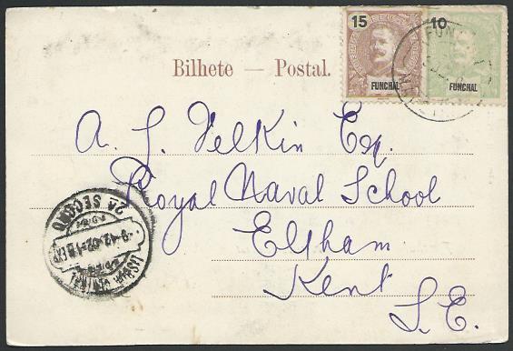 MADEIRA FUNCHAL 1902 postcard to UK........................................52976