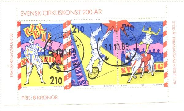 Sweden Sc  1656a 1987 Circus in Sweden stamp bklt pane used