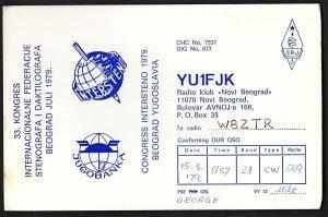 QSL QSO RADIO CARD YU1FJK,Congress Intersteno 1979, Yugoslavia (Q2574)